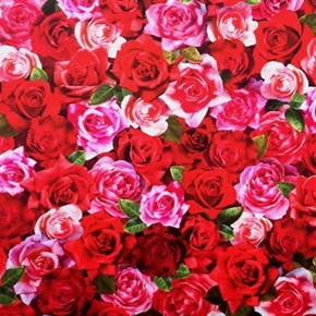 Roses Digital Rose Pink And Red Flower Blooms Cotton Fabric