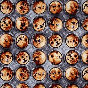 Picture of Bake Sale Muffin Pan Hot Blueberry Muffins Cotton Fabric