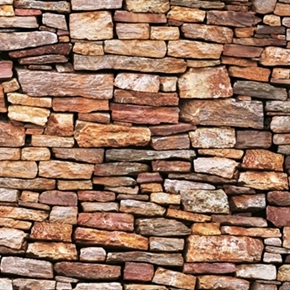 Landscape Medley Brown Stone Wall Stones Rocks Cotton Fabric