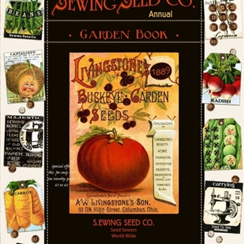 Sewing Seeds Ii Garden Seed Book 24X44 Large Cotton Fabric Panel