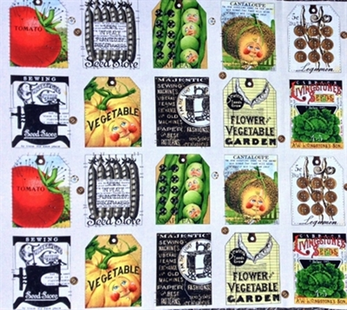 Sewing Seeds Ii Seed Pack And Tag Patch 24X44 Cotton Fabric Panel