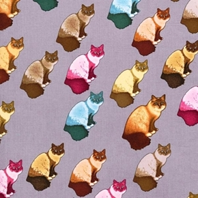 Home Sweet Home Cat Red Blue Brown Cats Grey Cotton Fabric