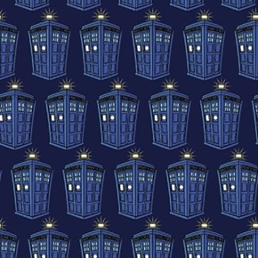 Doctor Who Tv Series Police Public Call Box Tardis Rows Cotton Fabric
