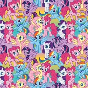 My Little Pony Hasbro Packed Ponies Ombre Cotton Fabric