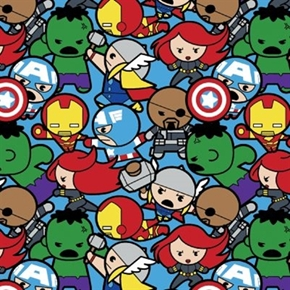 Marvel Kawaii Superheroes All In The Pack Blue Cotton Fabric