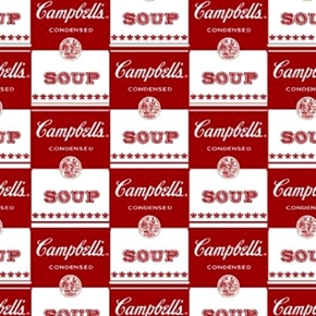 Picture of Contemporary Soup Can Label Campbell's Soup Red White Cotton Fabric