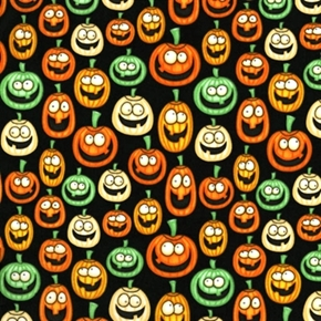 Picture of A Haunting We Will Go Goofy Jack-O-Lantern Pumpkins Cotton Fabric