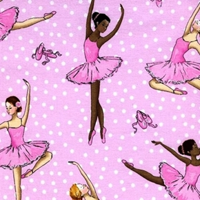 Picture of Ballet Dancers Ballerina Dancing Polka Dot Glitter Pink Cotton Fabric