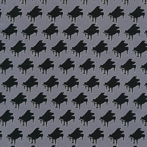 Perfect Pitch Ii Pianos In Rows Music Piano Grey Cotton Fabric