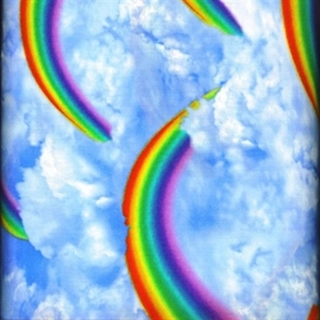 Puffy Clouds And Large Rainbows In The Sky Cotton Fabric