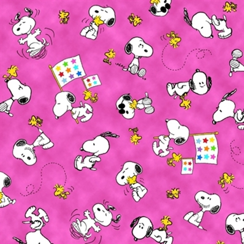 Picture of Project Linus Snoopy and Woodstock on Pink Cotton Fabric