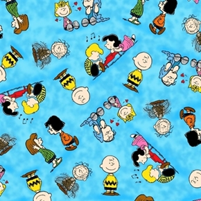 Happiness is Peanuts Characters Marbled Blue Cotton Fabric