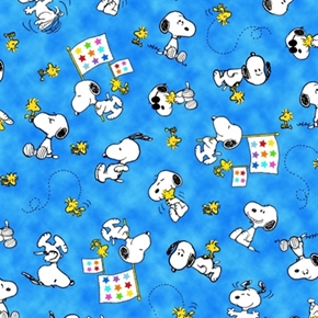 Project Linus Snoopy and Woodstock on Blue Cotton Fabric