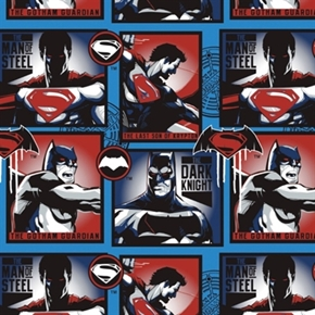 Batman v Superman Man Of Steel Dark Knight Blue Blocks Cotton Fabric