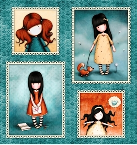 Heartfelt Santoro Gorjuss Girl Girls In Frames 24X22 Cotton Fabric