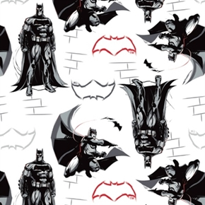 Batman v Superman Batman And Bat Signs On White Cotton Fabric
