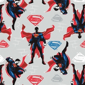 Picture of Batman V Superman Superman Action on Light Grey Cotton Fabric