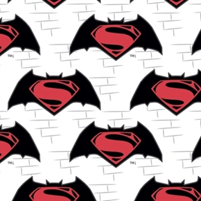 Batman v Superman Logos White Bat With Superman Logo Cotton Fabric