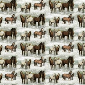Winter Still Horses Gathering In The Snow Cotton Fabric