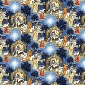 Blessed Birth Christmas Nativity Scene Cotton Fabric