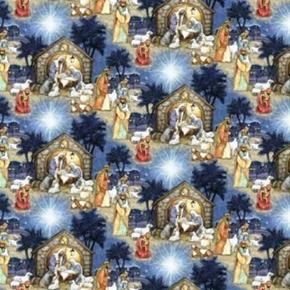 Blessed Birth Christmas Nativity Scene Cotton Fabric