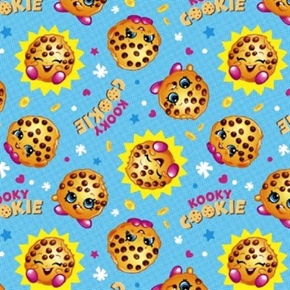 Shopkins Toys Cookie With The Look Kooky Cookies Blue Cotton Fabric