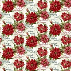 Poinsettia Scripture Bible Verses And Christmas Flowers Cotton Fabric