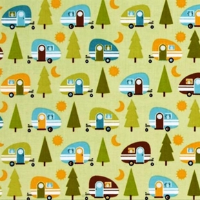 Picture of Happy Camper Retro Campers Trees Camping Green Cotton Fabric