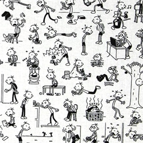 Diary Of a Wimpy Kid Book Movie Greg Heffley Action Cotton Fabric