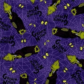 Spooktacular Dr Seuss Halloween Grinch Spider Webs Cotton Fabric
