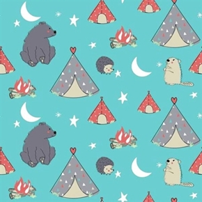 Camp Wee One Nursery Hedgehog Groundhog Bear Camping Cotton Fabric