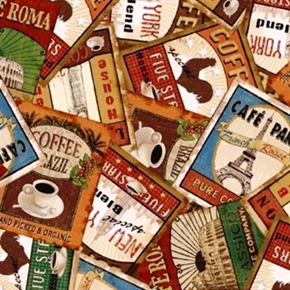Picture of Coffee Break Vintage International Coffee Labels Packed Cotton Fabric