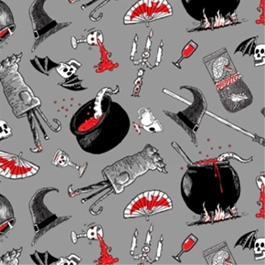 Picture of Oddities Spooky Halloween Witches Spell Ingredients Cotton Fabric
