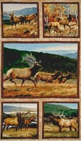 Picture of Breaking Light Wild Elk Blocks 24x44 Large Cotton Fabric Panel