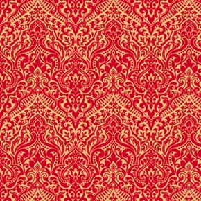 Luminous Holiday Lace Chevron Brocade Metallic Gold Red Cotton Fabric