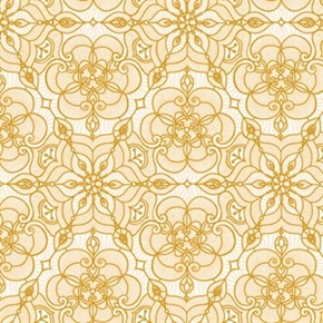 Luminous Holiday Lace Medallion Metallic Gold Cream Cotton Fabric