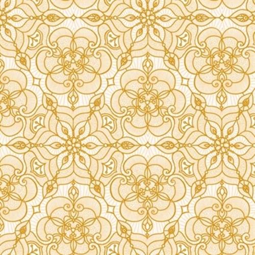 Luminous Holiday Lace Medallion Metallic Gold Cream Cotton Fabric