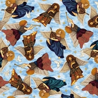 Picture of Heavenly Angels Playing Harps Horns and Mandolins Blue Cotton Fabric