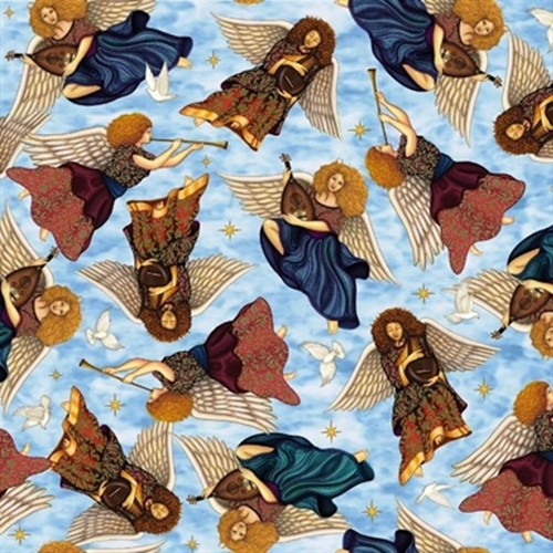 Heavenly Angels Playing Harps Horns And Mandolins Blue Cotton Fabric