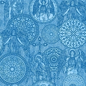 Heavenly Angel Medallions Toile Angels Crosses Blue Cotton Fabric