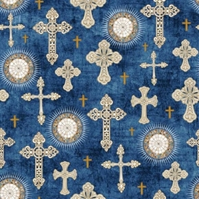 Heavenly Decorative Crosses And Medallions Denim Blue Cotton Fabric