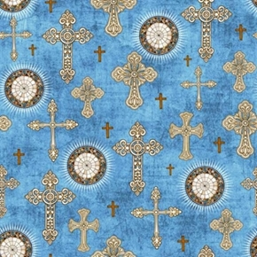 Heavenly Decorative Crosses And Medallions Blue Cotton Fabric