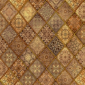 Heavenly Religious Diagonal Filigree Patch Brown Cotton Fabric