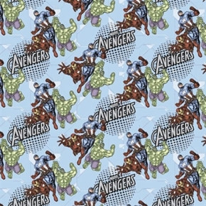 Marvel Avengers Assemble Iron Man Cap America Hulk Blue Cotton Fabric
