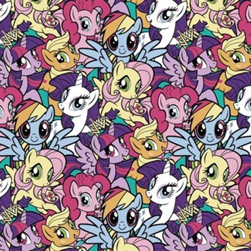 Flannel My Little Pony Gang Packed Cotton Fabric