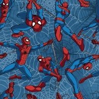 Picture of Marvel Spiderman Fly Flying on Webs Blue Cotton Fabric