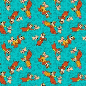 Yogi Bear And Boo Boo In Bali Hanna Barbera Turquoise Cotton Fabric