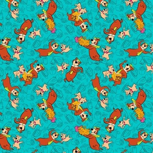 Yogi Bear And Boo Boo In Bali Hanna Barbera Turquoise Cotton Fabric