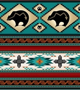 Tucson Southwest Aztec Indian Bear Stripe Turquoise Cotton Fabric
