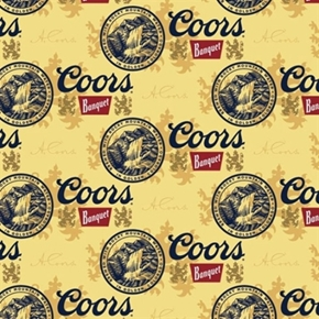 Miller Coors Beer Golden Cans Cotton Fabric